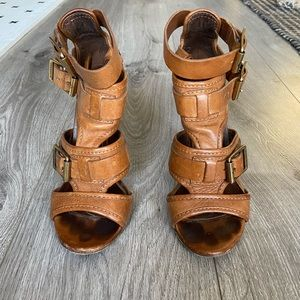 Burberry tan leather gladiator heel sandals
